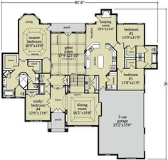 Open Ranch Style Floor Plans | ... Ranch House Plans: Generally speaking, Ranch home plans are one-story - I love the separate closets in the master bedroom.