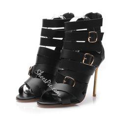 Shoespie Buckle Decorated Wrap Stiletto Gladiator Sandals