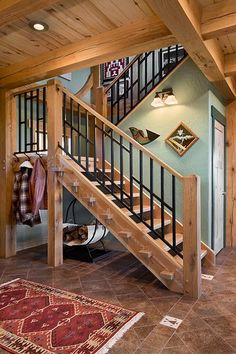 Colorado Craftsman: Classic Timber Home Home Stairs Design, Stair Railing Design, Railings, Rustic Staircase, Wooden Staircases, Cottage Stairs, House Stairs, Cabin Design, House Design