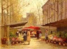 Marche Aux Fleurs a la Madeleine by Edouard Leon Cortes