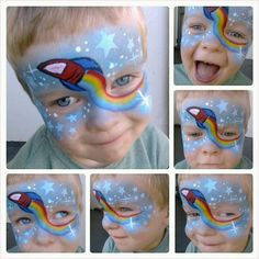 Rocket face paint design - Face painting ideas for boys #snazaroo #facepaint