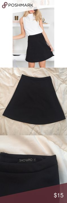 🆕 Showpo black A line skirt size small Showpo brand A lone black skirt. Shown in Australian size 8 which is a US size 4. Would be best suited for a small size 4 to a size 2. Please feel free to ask any questions or make an offer! 🙂 showpo Skirts Mini