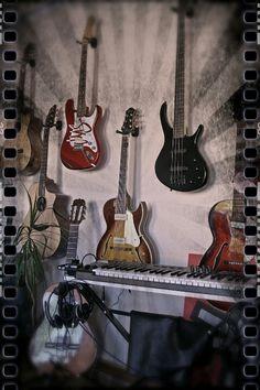 Guitars on the studio wall. Music Recording Studio, Recorder Music, Musical Instruments, Musicals, Wall, Design, Instruments, Musik, Guitar