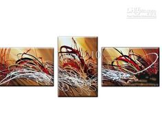 Wholesale Landscape Oil Painting 100%Hand-painted 3-pcs Abstract Warm-toned painting set, Free shipping, $137.08-154.75/Piece | DHgate