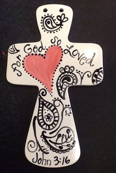 Ceramic Cross by melaniehewins on Etsy Clay Cross, Cross Art, Sharpie Art Projects, Clay Projects, Pottery Painting, Ceramic Painting, Ceramic Art, Pottery Angels, Paint Your Own Pottery