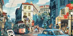 """emmyc: """" eiffelart: """" sbosma: """" A big drawing of the city of Lisbon, Portugal, which I did for Light Gray Art Lab's """"In Place"""" exhibition. Lisbon, from my research, appears to be populated by cuties. Comics Illustration, Digital Illustration, Bg Design, Ligne Claire, Grey Art, Animation Background, Visual Development, Environment Design, Environmental Art"""