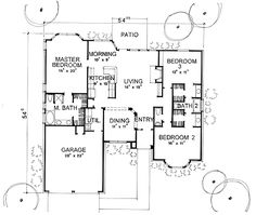 First Floor Plan of Traditional   House Plan 67659