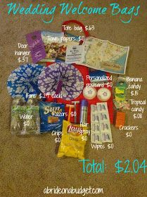 Wedding Welcome Bags Oriental Trading Edition Full bags for only 1 15 each A Bride On A Budget Wedding Hotel Bags, Wedding Guest Bags, Wedding Gifts For Guests, Disney Wedding Favors, Wedding Favors Cheap, Beach Wedding Favors, Wedding Souvenir, Nautical Wedding, Cheap Favors