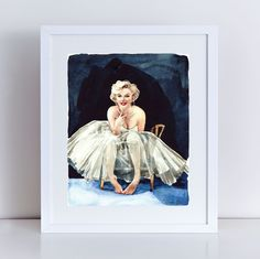 Marilyn Monroe Art Print Portrait of a Lady Giclee Print of Watercolor Painting 8 x 10, 11 x 14 inches Fine Art Poster the Seven Year Itch Some Like it Hot Norma Jean Baker. Giclee print of original watercolor portrait of Miss Marilyn, from a very famous photo shoot involving this darling glimpse behind the curtain. This is one of my favorite photo sessions, showing a truly delicate woman behind the Hollywood star. Great as a gift for a Marilyn devotee, a fashion lover, a movie lover…