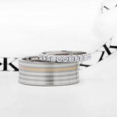 Diamond wedding band & plain gents ring #bykalfinjewellery #diamondjewellery #jewellers #diamondringsmelbourne #diamondrings #engagementringsmelbourne #weddingrings #cbdjewellery #cotyjewellers #collinsst #bestdiamond #bestjeweller #collinsst #diamondhalorings #weddingrings #gentsring www.kalfin.com.au