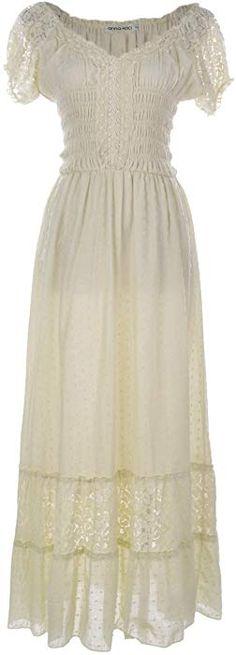 e9626c64694 Anna-Kaci Antique Beige Small Size Smocked Waist Summer Maxi Dress Cap  Sleeve Boho Gypsy