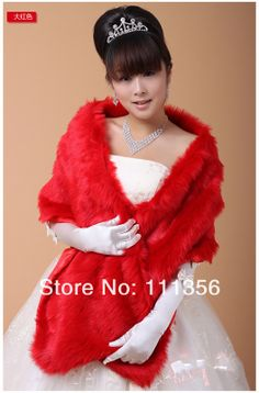 Ivory Red White Black Faux Fur Wedding Bridal Wrap Bride Cape Bolero Coat $18.99