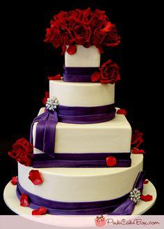 Purple Rose & Brooch Wedding Cake By Pink Cake Box Wedding Cakes & Red Purple Wedding, Purple Wedding Cakes, Wedding Colors, Beautiful Cakes, Amazing Cakes, 4 Tier Wedding Cake, Rose Violette, Red Cake, Purple Roses
