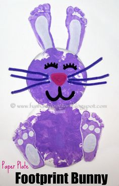 Paper Plate Footprint Bunny:  Tape or glue on the footprints like shown in the photo above. I decided not to give them arms but of course feel free to add some to yours!    Make the facial features by painting on eyes, a nose, a mouth or bunny teeth, and glue on whiskers- we used pipe cleaners for ours.