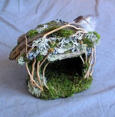 (Original pin: Mini Elfin Shelter Custom Order by pandorajane on Etsy… Fairy Garden Furniture, Fairy Garden Houses, Gnome Garden, Fairy Village, Kobold, Fairy Crafts, Gnome House, Fairy Doors, Miniature Fairy Gardens