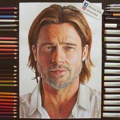 WANT A SHOUTOUT ?   CLICK LINK IN MY PROFILE !!!    Tag  #DRKYSELA   Repost from @xeccnka   Desenho realista do ator Brad Pitt finalmente concluído! Tenho que dizer que amei fazer esse haha  via http://instagram.com/zbynekkysela