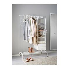 RIGGA Clothes rack - - - IKEA $12.99 Another alternative way to hang clothes and see them. Also has the little shoe rack at the bottom.