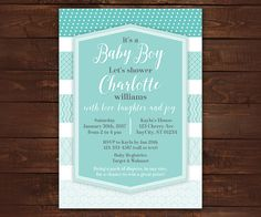 Blue Ombre Invitation Baby Boy Invitation by LittleBeesGraphics