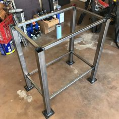 My space-saving table. I LOVE welding! So much fun bonding metal parts together. Welding Table Diy, Welding Cart, Welding Shop, Welded Furniture, Car Furniture, Simple Furniture, Steel Furniture, Welding Works, Metal Welding