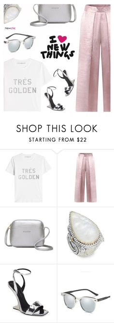 """""""Newchic 11"""" by arohii ❤ liked on Polyvore featuring Golden Goose, Lazy Oaf, Konstantino, Giuseppe Zanotti, Silver, ootd, metallic, polyvoreeditorial and polyvorefashion"""