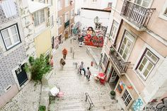 Alfama district, Lisbon, Portugal - via Tails of Wonders Places In Portugal, Lisbon Portugal, Places To See, Medieval, Cities, Santa, Street View, Community, Holidays