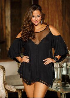 bb763a3adb Plus Size Lingerie Open Shoulder Nightwear