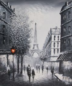 paris eiffel tower black and white oil painting on canvas