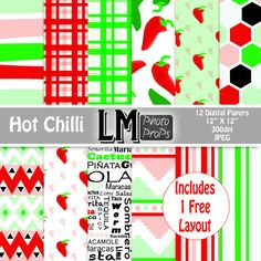 Chilli Mexican Digital Scrapbook Paper  Green and by LMPhotoProps, $4.00