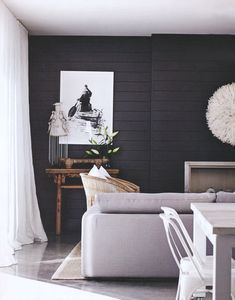 30 Amazing Photo of Shiplap Living Room . Shiplap Living Room 15 Rooms That Prove Black Shiplap Is The New White Shiplap Dark Coastal Living Rooms, Home And Living, Living Room Decor, Living Spaces, Living Area, Dining Room, Black Living Rooms, Modern Living, Black Bedrooms