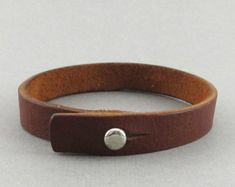 Bracelets For Ladies : Mens womens unisex simple brown leather wrap bracelet with stud closure - can be personalised Leather Cuffs, Leather Men, Brown Leather, Bracelets For Men, Handmade Bracelets, Beaded Bracelets, Personalised Bracelets, Leather Accessories, Leather Jewelry