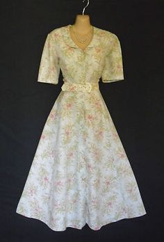 VINTAGE LAURA ASHLEY ENGLISH ALUM SUMMER LILLYS 40S STYLE DRESS 10
