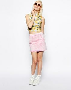 Image 4 of ASOS Crop Top in Marigold Print