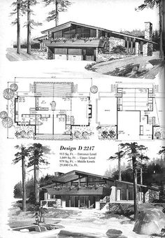 Ranch Style House Plans Mid Century House Plans Luxury Vintage House Plans Mid Century Homes Modern Floor Plans, Modern House Plans, Modern House Design, House Floor Plans, Split Level Floor Plans, Mcm House, Vintage House Plans, Vintage Homes, Ranch Style Homes