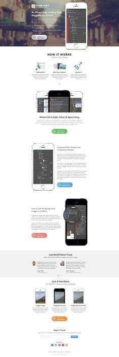 iPhone App Landing Page (PSD) An epic iPhone app landing page template, designed with one goal in mind - to deliver more downloads of your iPhone app… isn't that the goal of every app? The PSD is well structured, organized in named folders of course, extremely flexible and editable. Every image except the iPhones and the photo backgrounds is build with custom shapes. #mockupiphone, #mockupsiphone #mockups #iphone5mockups, #iphone5psd #iphone5psdmockups