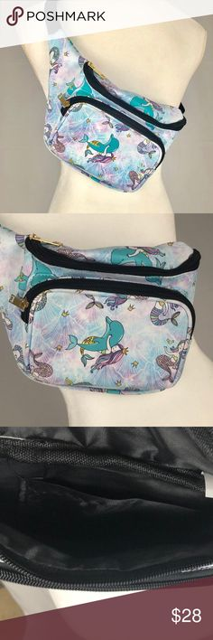 MERMAID PINK BLUE RAVE FANNY PACK RETRO WAIST BAG NWT ADJUSTABLE NYLON WAIST BELT WITH PLASTIC CLIP.  3 ZIPPER COMPARTMENTS.  WEAR AROUND YOUR WAIST OR CROSSBODY OR SHOULDER BOUTIQUE Bags Crossbody Bags
