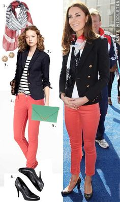 Kate Middleton's Navy Blazer and Coral Jeans