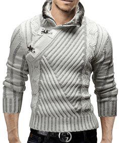 Merish jersey de punto slim fit suéter cuello bufanda capucha chaqueta de punto nuevo mix