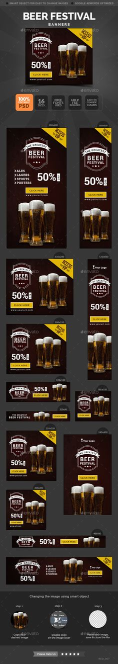 Beer Festival Banners Template PSD #banner #webbanner #design Download: http://graphicriver.net/item/beer-festival-banners/10654528?ref=ksioks
