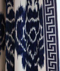 Navy Ikat Fabric and Greek Key Trim Drapes