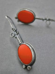 orange drop dangle earrings with bubble metal detail dangle earrings vintage glass long sleek sophisticated statement jewelry modern on Etsy, $240.00