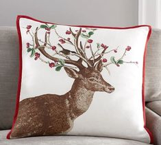 Winter Berry Doe Print Pillow Cover | Pottery Barn