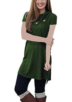 9e4a3e04d27 Our Precious Women s Long Sleeve Button Lapel Neck Sides Slit Shirt Dress  Side Slit Shirt
