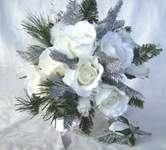Reserved Winter wedding bouquet and by ChurchMouseCreations, $145.00
