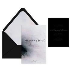 Dark Matter Invitation Suite /  Celestial Series / Watercolor Envelope Liner / Written Word Calligraphy / Black on Black / Dusty Purple / Custom / Modern / #myownblissandbone