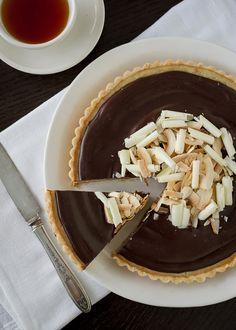 Coconut Custard Tart with Chocolate Ganache - from @Liren Baker | Kitchen Confidante