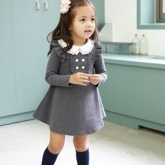 Girls A Line dress with Peter Pan Collar