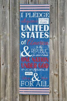 "DIY Wall Art | Patriotic Subway Art ""I Pledge of Allegiance"" Sign"