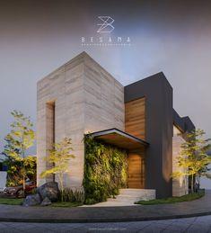 Projeto residencial by Besana Studio. Modern Exterior House Designs, Modern House Facades, Modern Villa Design, Dream House Exterior, Modern Architecture House, Facade Architecture, Exterior Design, Interior Exterior, Bungalow House Design