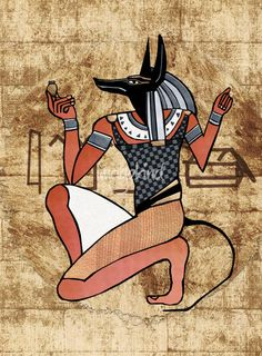 Anubis Guardian Egyptian Folk Art by Renee Lozen, Palm Harbor #egypt #egyptian
