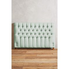 Anthropologie Linen Tufted Lena Headboard (1,015 CAD) ❤ liked on Polyvore featuring home, furniture, beds, mint, tufted head board, hollywood regency headboard, plush headboard, anthropologie and tufted headboard
